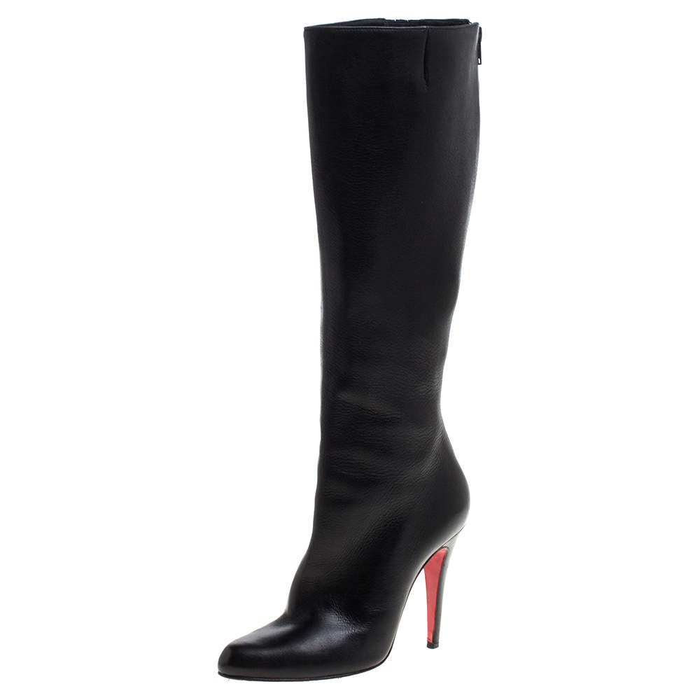 Christian Louboutin Black Leather New Simple Botta Knee Length Boots Size 36