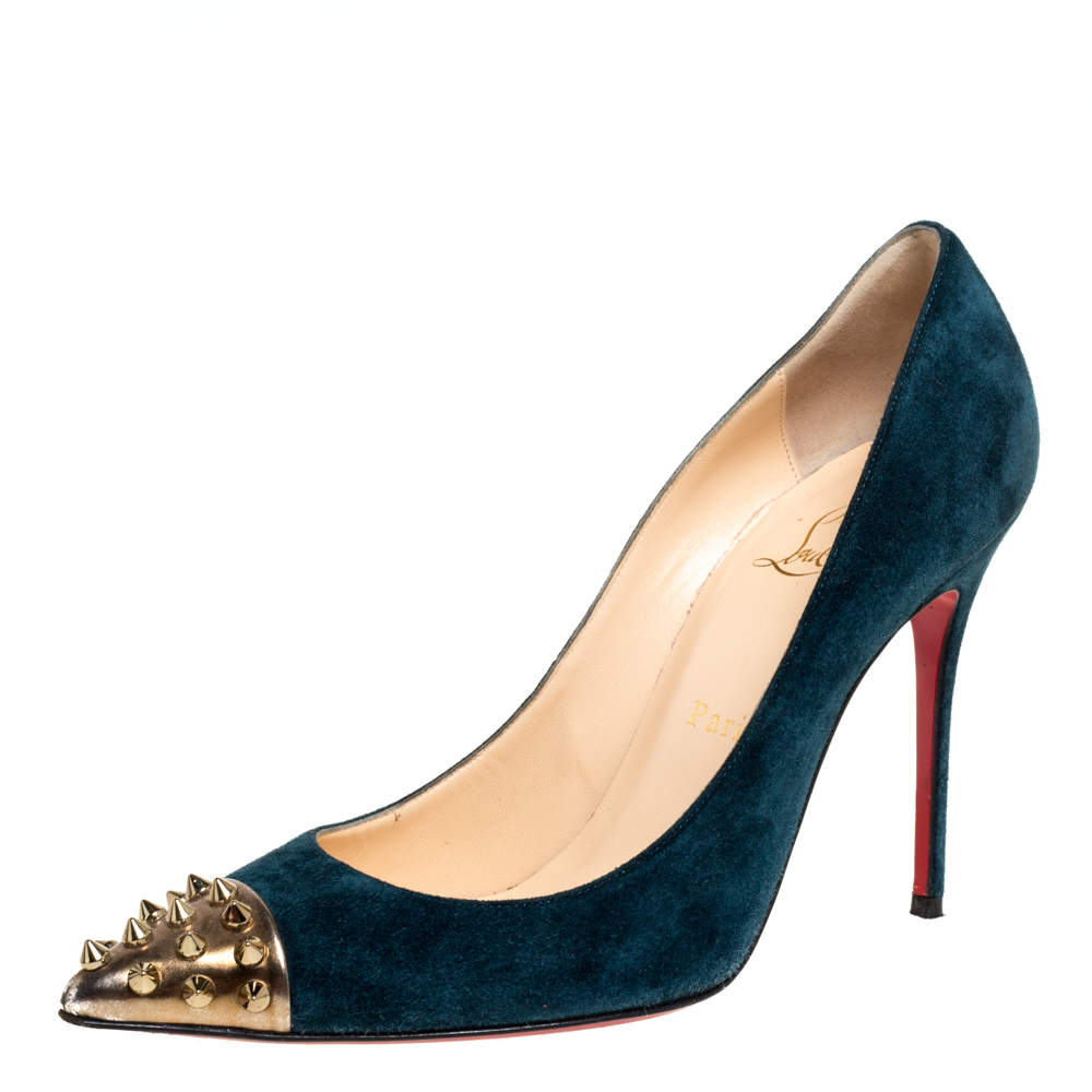 Christian Louboutin Blue Suede Geo Spike Studded Cap Toe Pumps Size 38