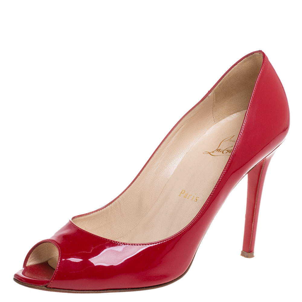 Christian Louboutin Red Patent Leather Flo Peep Toe Pumps Size 39
