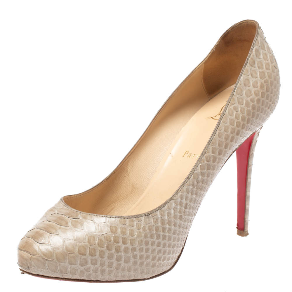 Christian Louboutin Beige Python Simple Platform Pumps Size 39.5