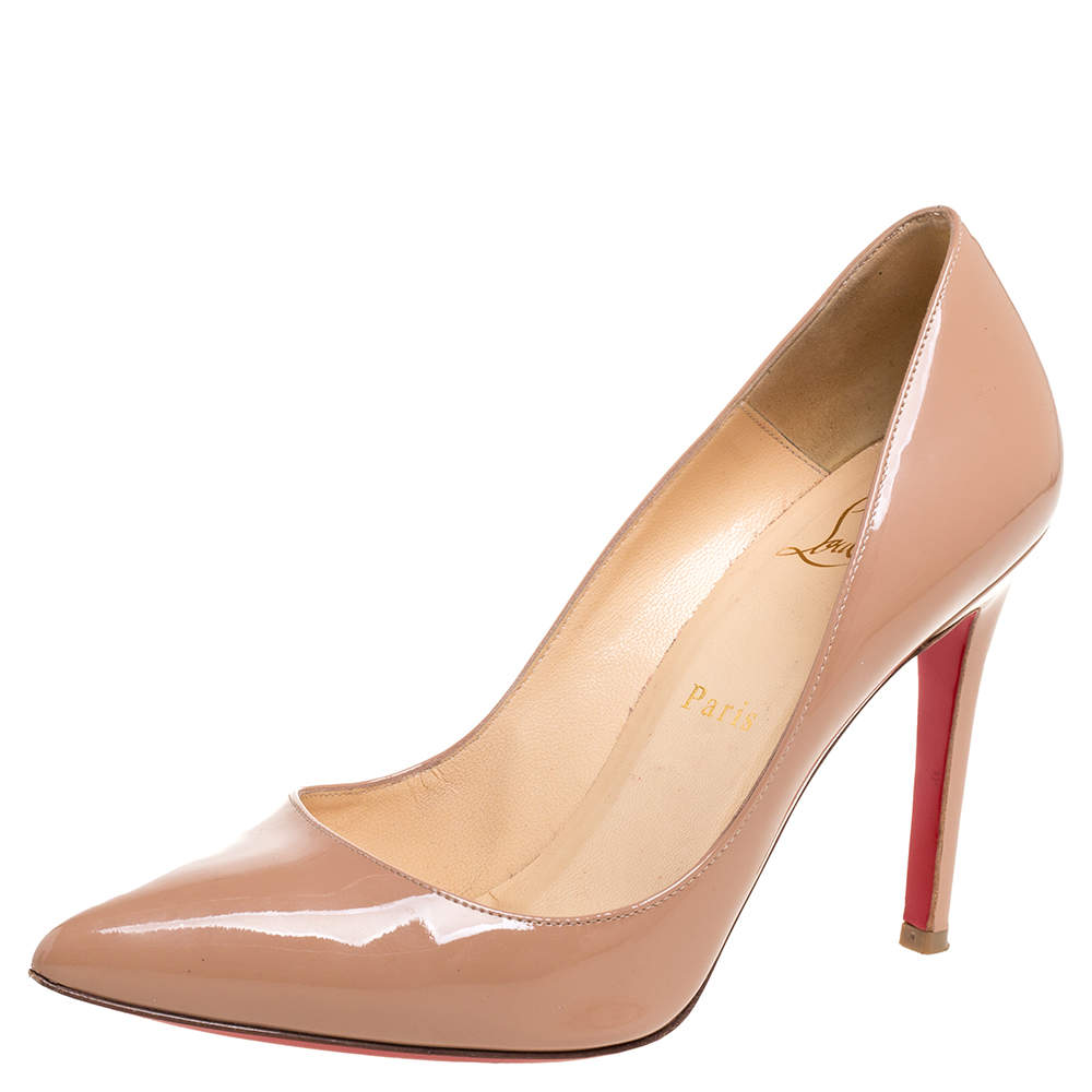 Christian Louboutin Beige Patent Leather Pigalle Pumps Size 37