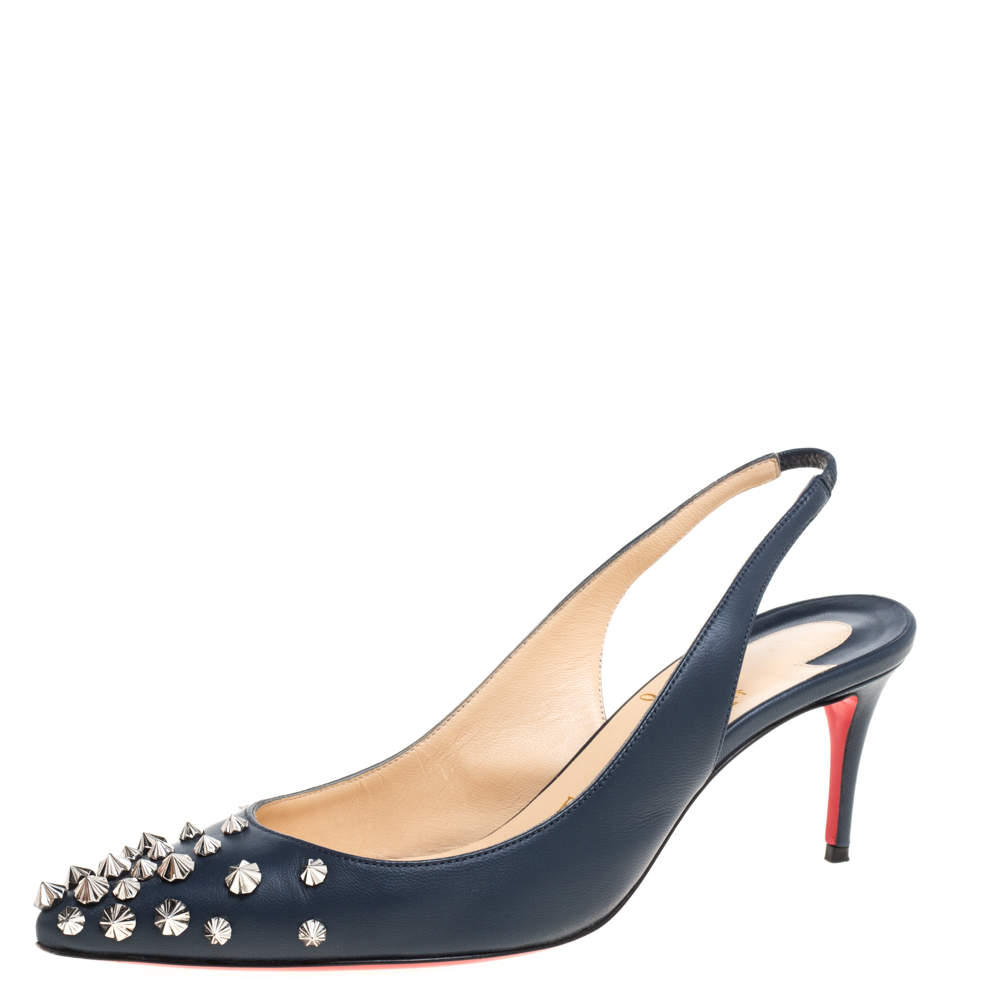 Christian Louboutin Denim Blue Leather Drama Spikes Sling Back Pointed Toe Pumps Size 36.5