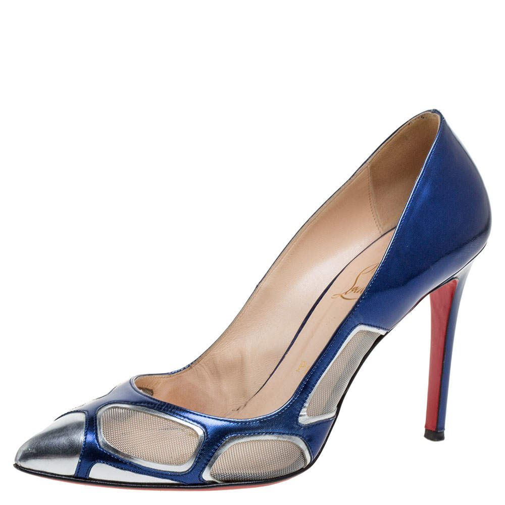 Christian Louboutin Blue Patent Leather and Mesh Pumps Size 38