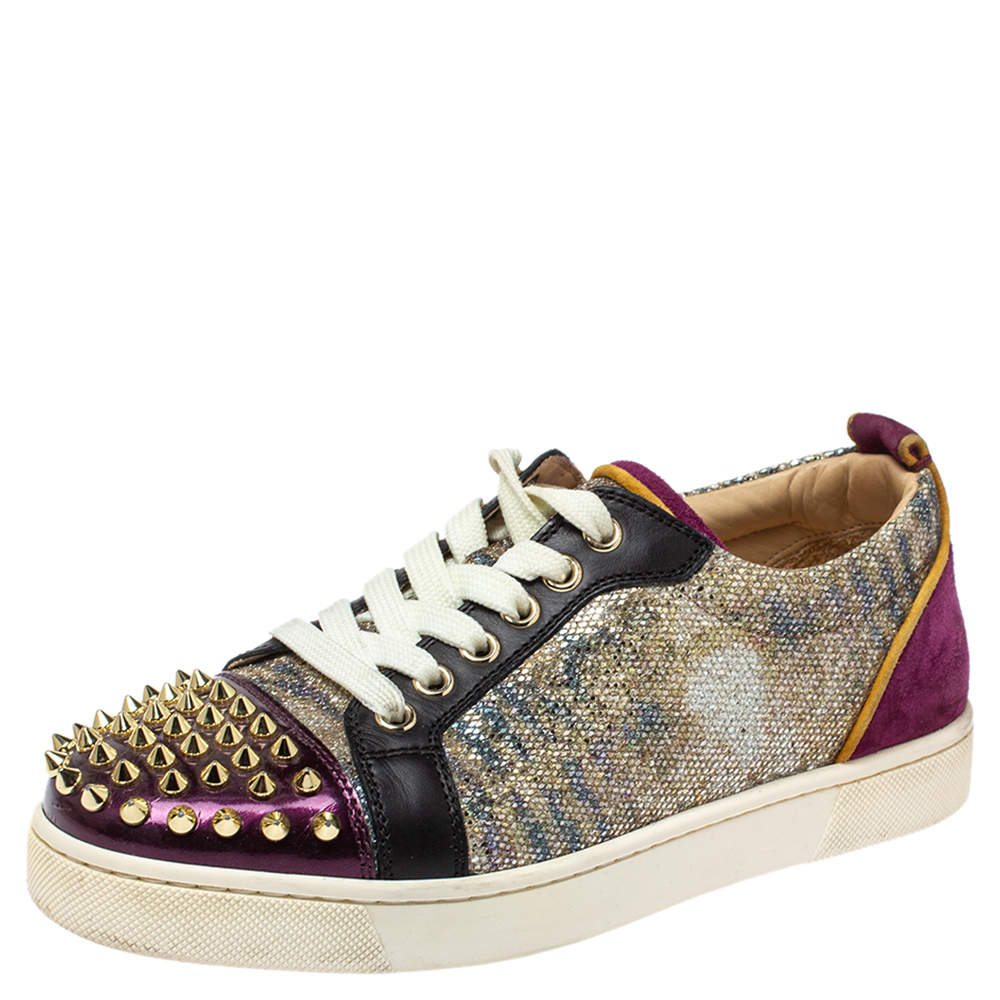 Christian Louboutin Multicolor Glitter and Leather Louis Junior Spikes Sneakers Size 37.5