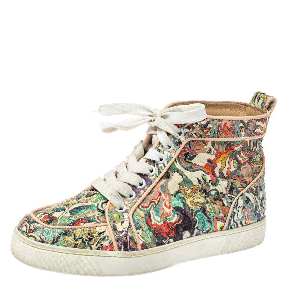 Christian Louboutin Multicolor Python Faience Rantus High Top Sneakers Size 35.5