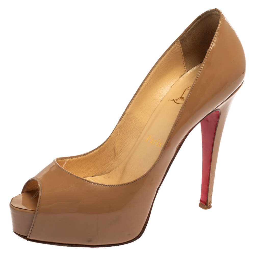 Christian Louboutin Nude Beige Patent Leather New Very Prive Peep Toe Platform Pumps 37.5
