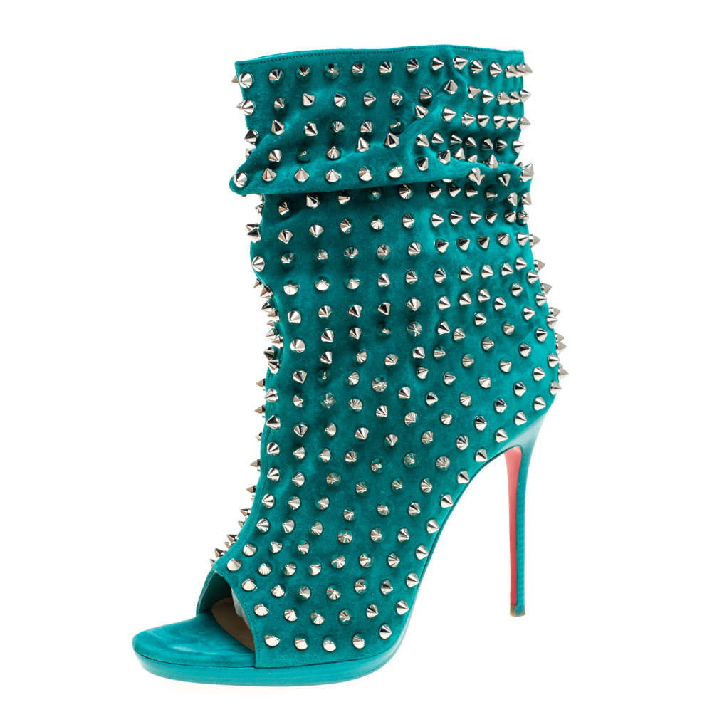 Christian Louboutin Green Suede Leather Guerilla Spiked Open Toe Ankle Boots Size 38.5