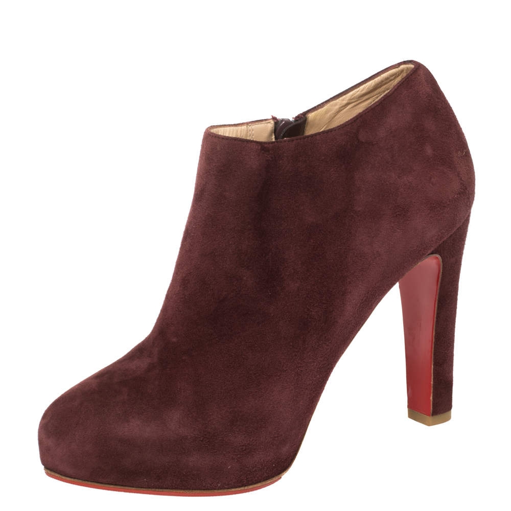 Christian Louboutin Maroon Suede Platform Booties Size 37.5