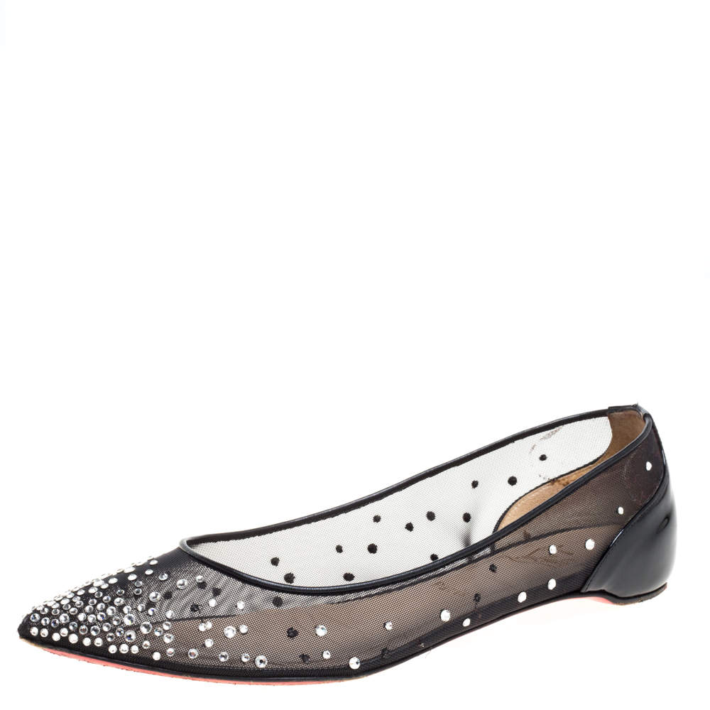 Christian Louboutin Black Embellished Mesh And Patent Leather Follies Strass Pointed Toe Ballet Flats Size 39