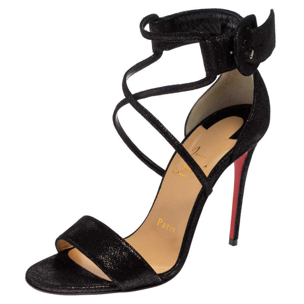 Christian Louboutin Black Suede Leather Choca Criss Cross Open Toe Sandals Size 36