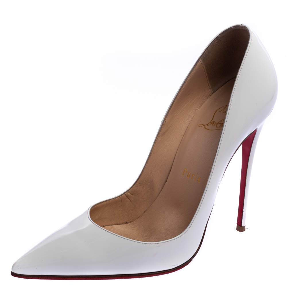 Christian Louboutin White Patent Leather So Kate Pumps Size 38