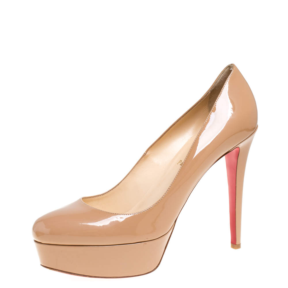 Christian Louboutin Beige Patent Leather Bianca Pumps Size 41