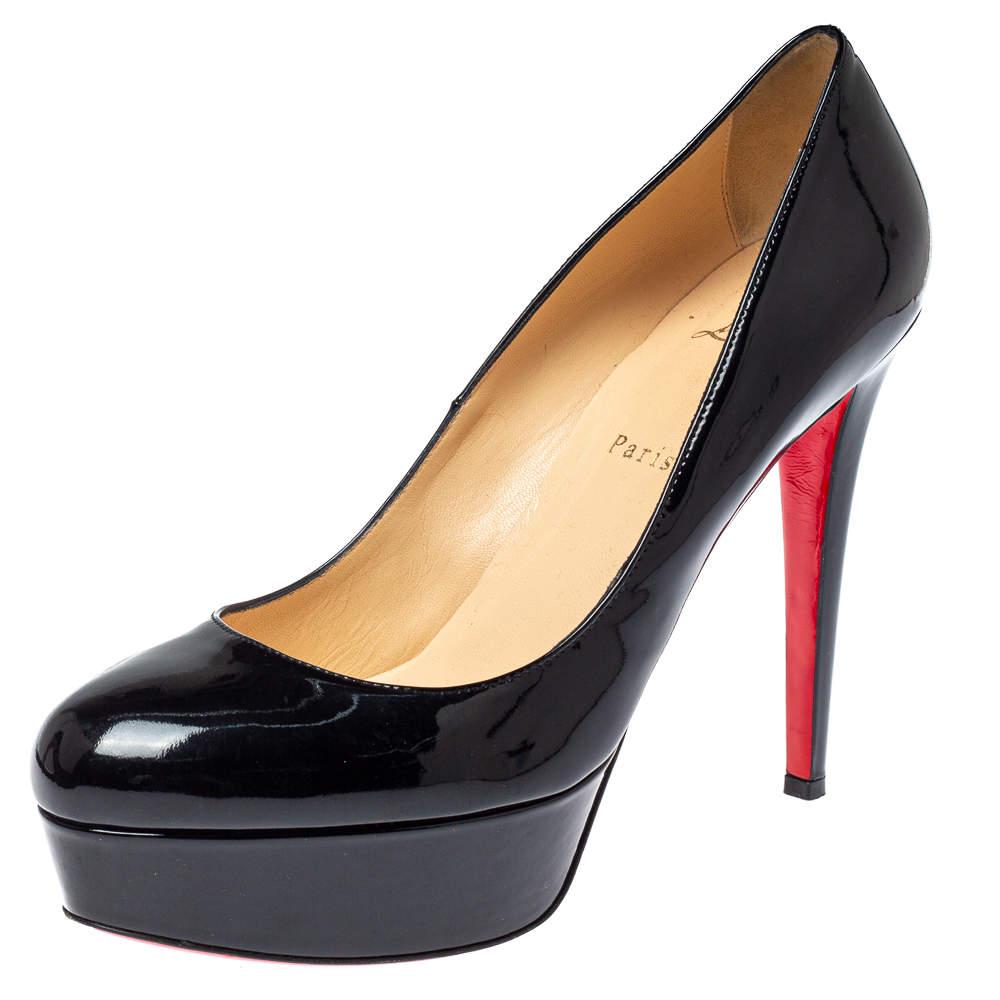 Christian Louboutin Black Patent Leather Bianca Platform Pumps Size 41