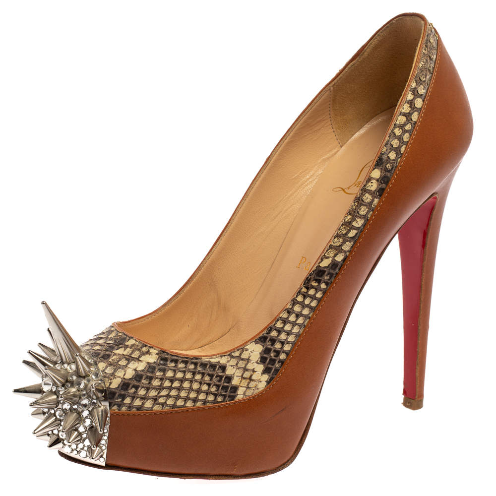 Christian Louboutin Brown/Beige Leather And Python Asteroid Spike Toe Pumps Size 37.5