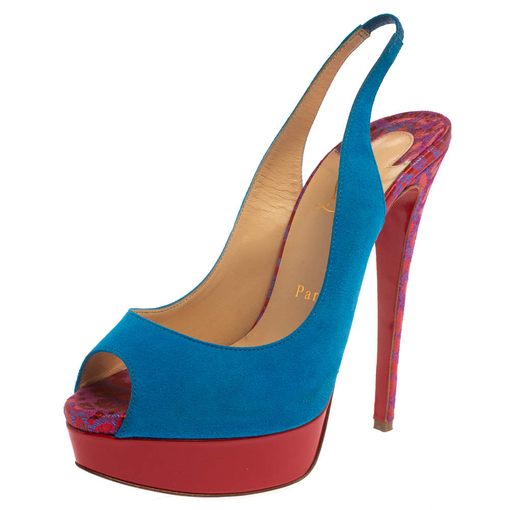 Christian Louboutin Blue/Red Suede And Fabric Lady Peep Sling Pumps Size 37