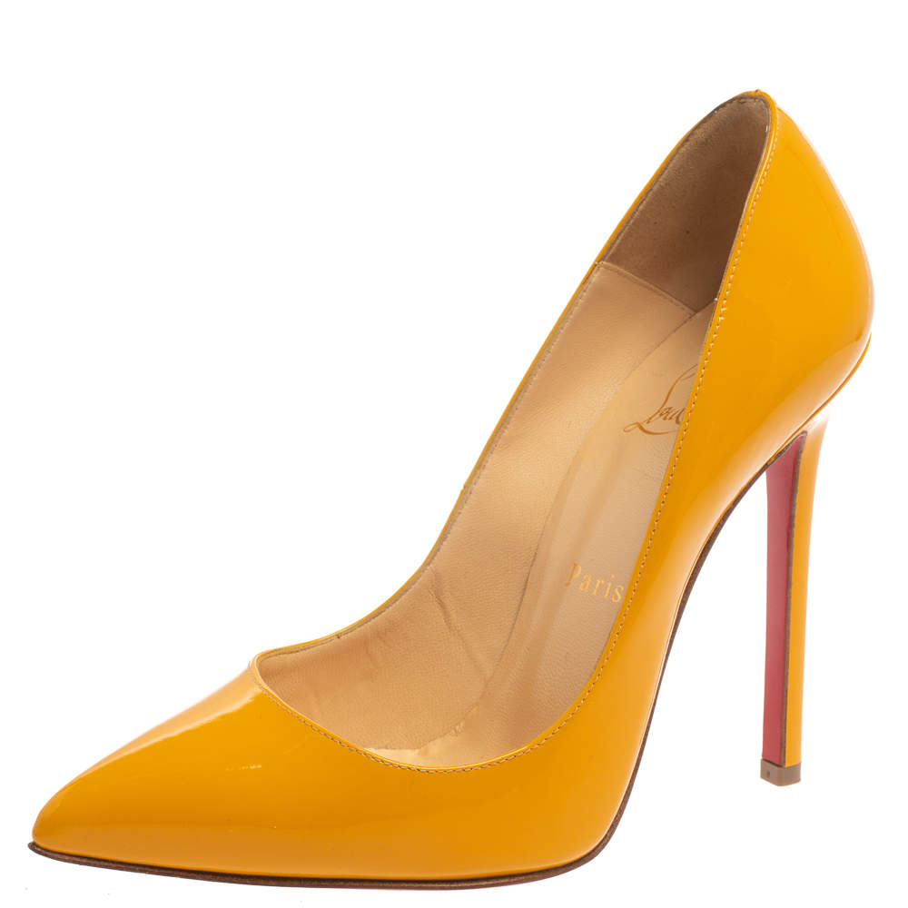 Christian Louboutin Yellow Patent Leather Pigalle Pointed Toe Pumps Size 37.5
