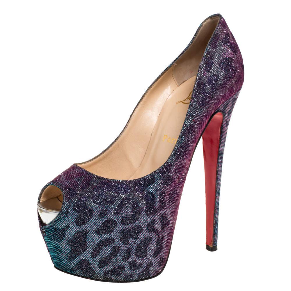 Christian Louboutin Multicolor Leopard Print Lurex Highness Peep Toe Platform Pumps Size 38.5