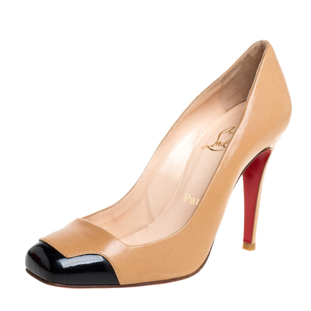 Christian Louboutin Brown/Black Leather Particule Pumps Size 38