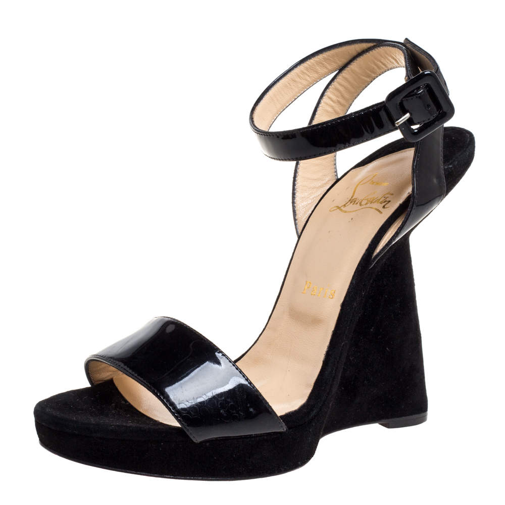 Christian Louboutin Black Suede And Patent Leather Djaldos Spechio Ankle Strap Wedges Size 39.5