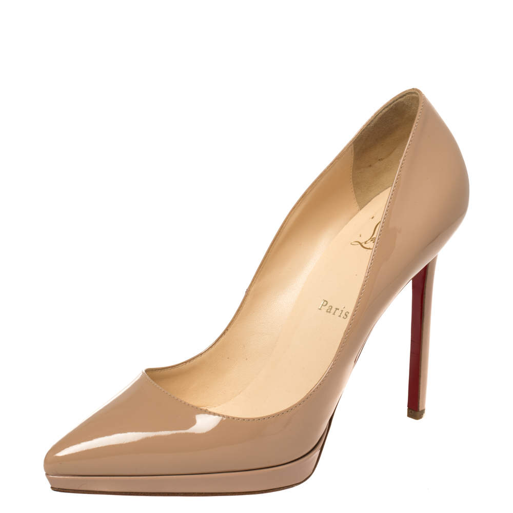 Christian Louboutin Beige Patent Leather Pigalle Plato Pumps Size 41