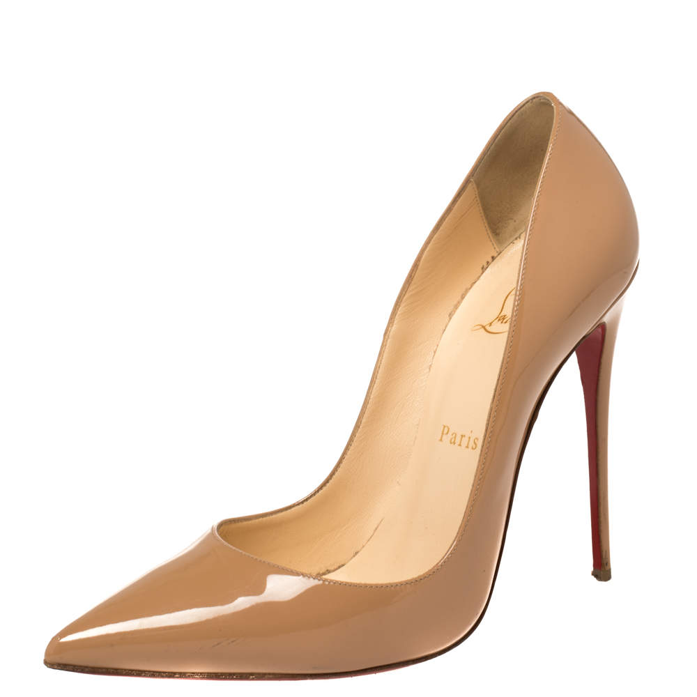Christian Louboutin Beige Patent Leather So Kate Pumps Size 39
