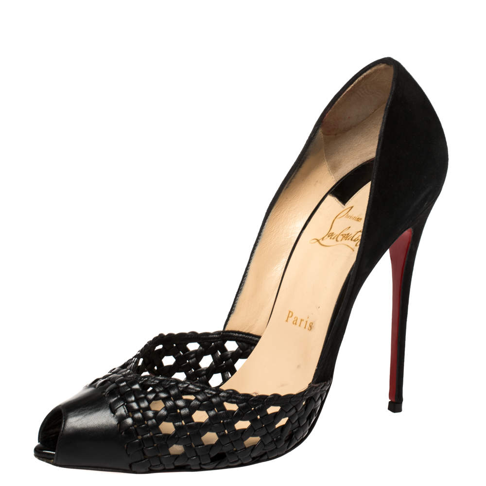 Christian Louboutin Black Suede And Braided Leather Peep Toe Pumps Size 39