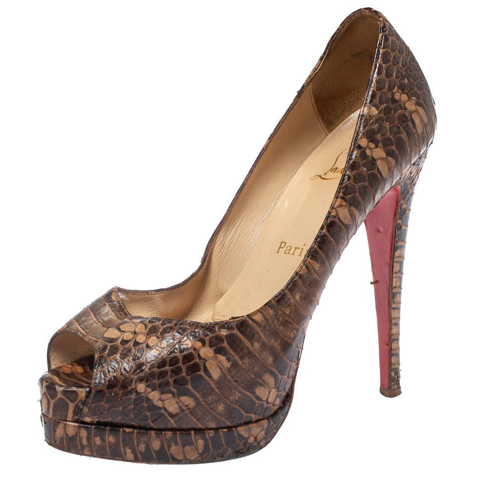 Christian Louboutin Brown Python Leather Platform Peep Toe Pumps Size 38