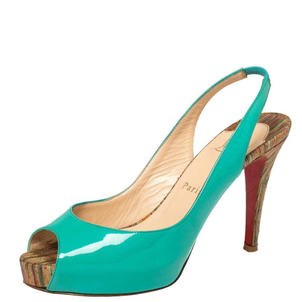 Christian Louboutin Green Patent Leather Private Number Peep Toe Slingback Sandals Size 37.5