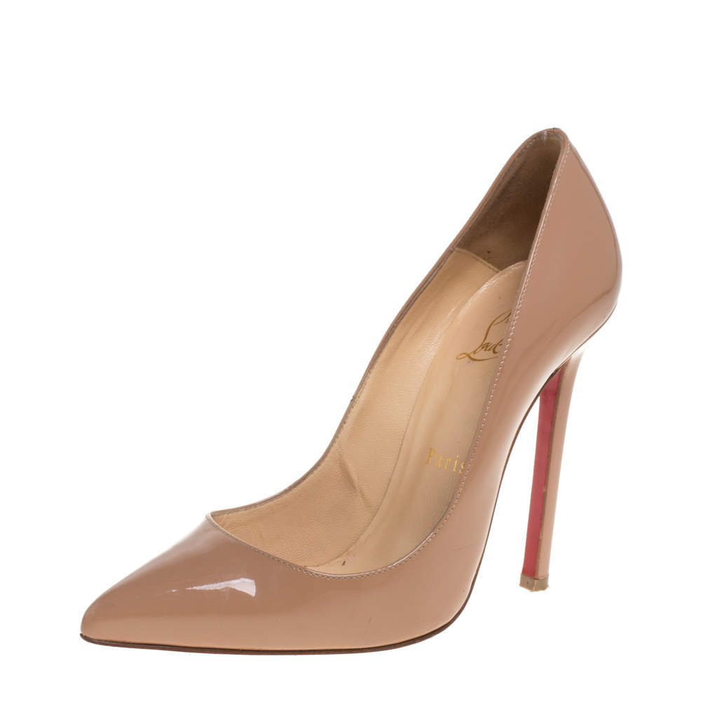 Christian Louboutin Beige Patent Leather Pigalle Pointed Toe Pumps Size 37
