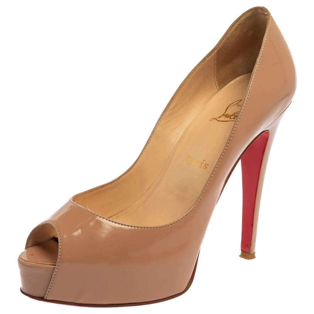Christian Louboutin Beige Patent Leather Very Prive Peep Toe Pumps Size 39