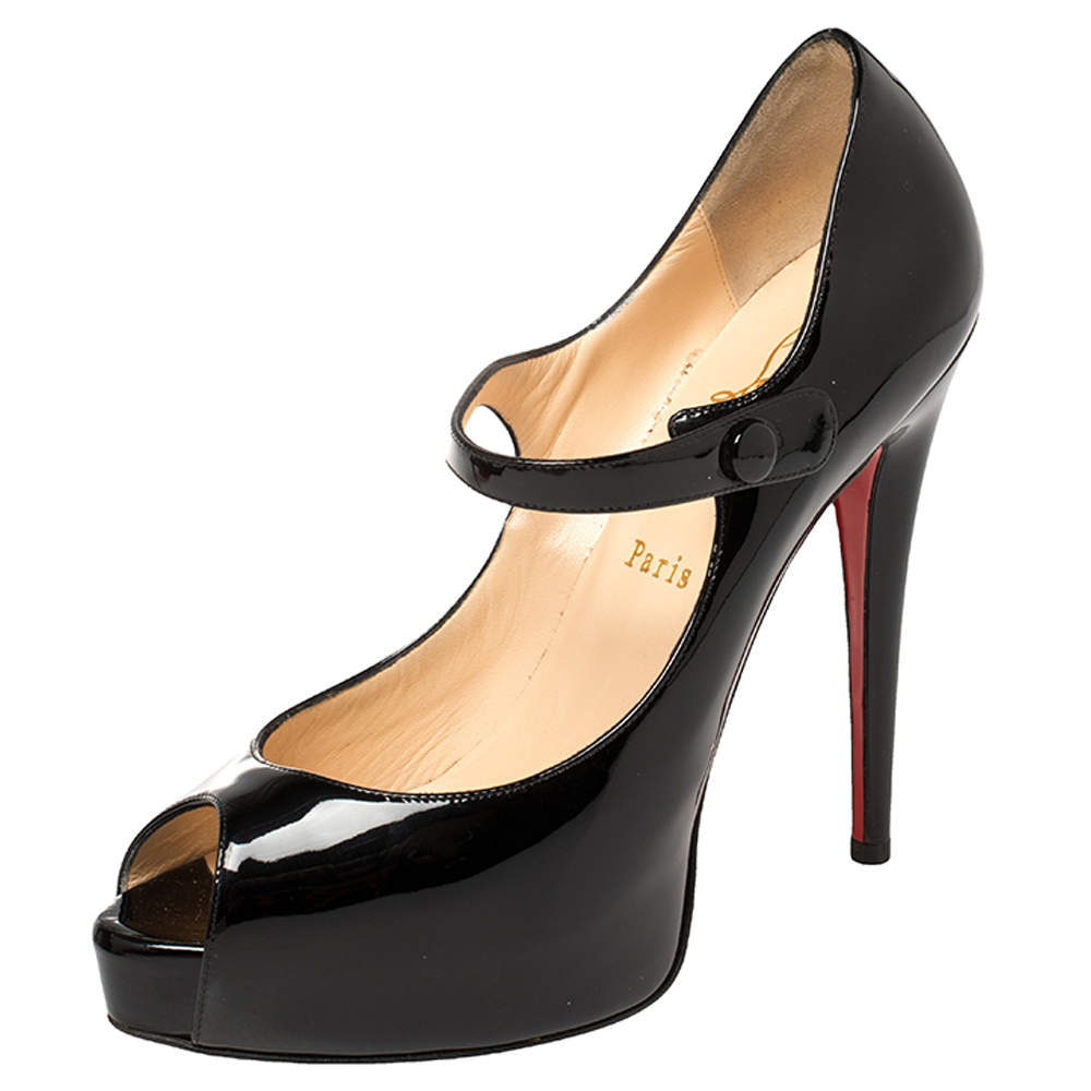 Christian Louboutin Black Patent Leather Mary Jane Peep Toe Pumps Size 38