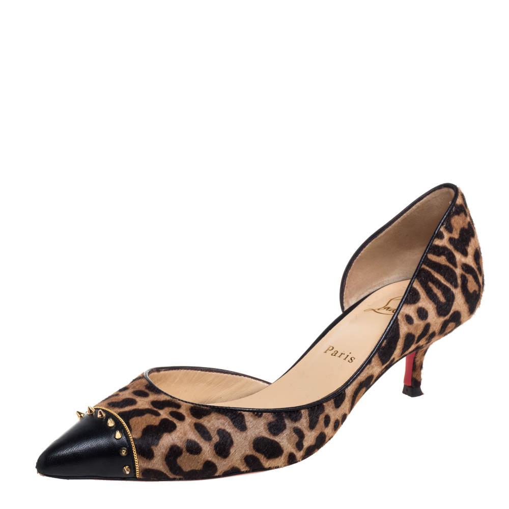 حذاء كعب عالى كريستيان لوبوتان كالتشر جلد وشعر عجل بيج / بنى مقاس 38.5