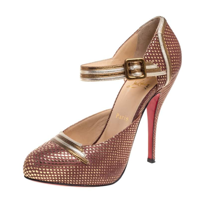 Christian Louboutin Brown/Gold Leather Myriam Pumps Size 38