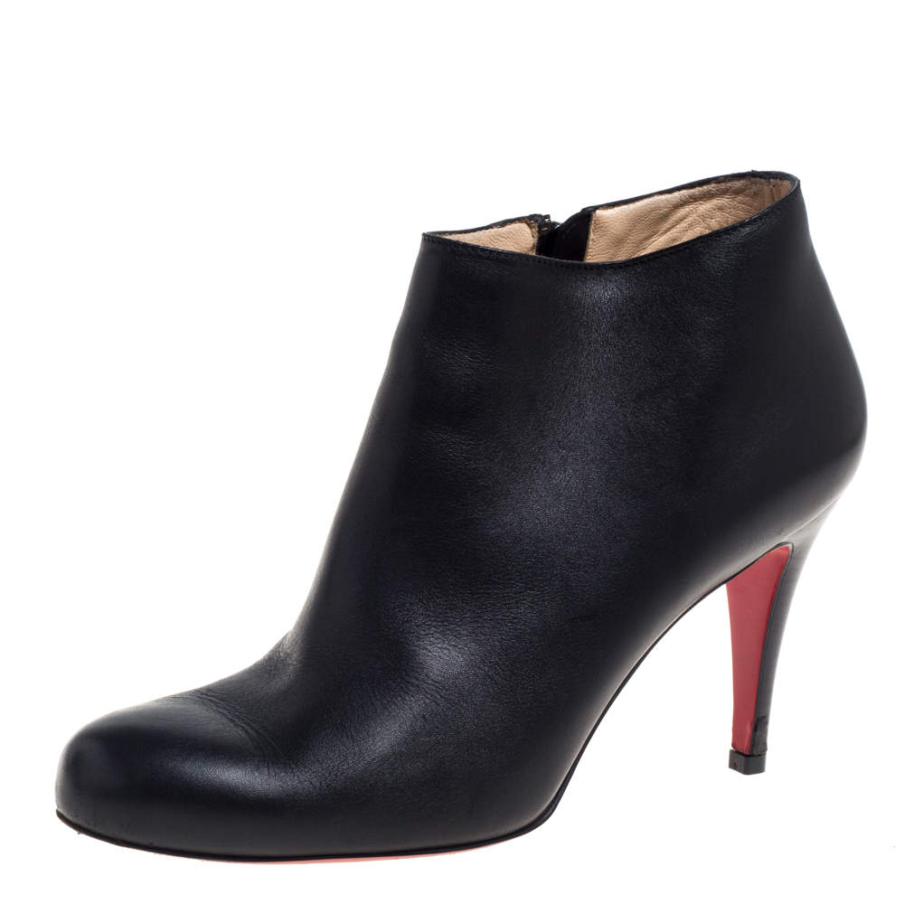 Christian Louboutin Black Leather Belle Ankle Booties Size 37