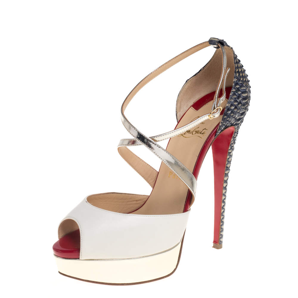 حذاء كعب عالى كريستيان لوبوتان مقدمة مفتوحة سيور متقاطعة جلد وجلد ثعبان متعدد الألوان مقاس 40.5