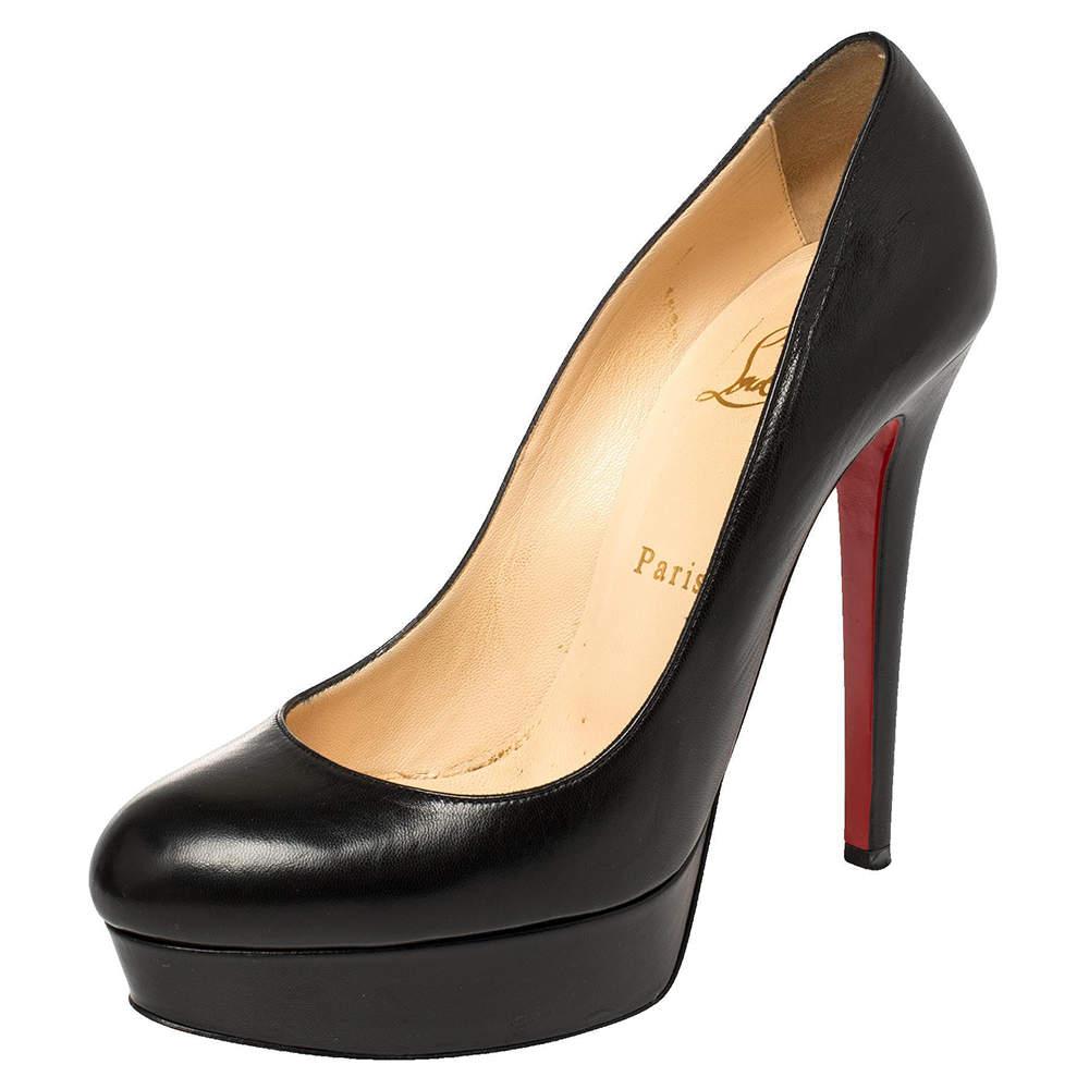 Christian Louboutin Black Leather Bianca Platform Pumps Size 38.5
