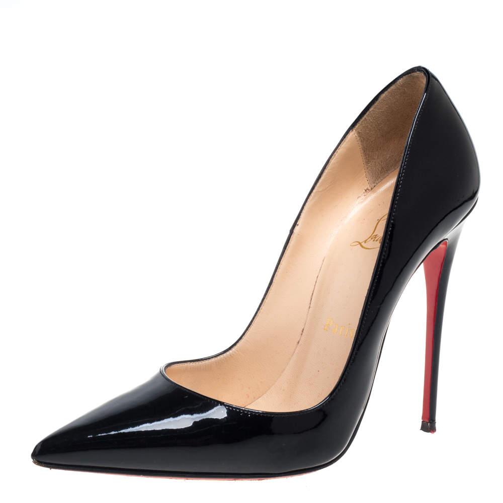 Christian Louboutin Black Patent Leather So Kate Pumps Size 37.5