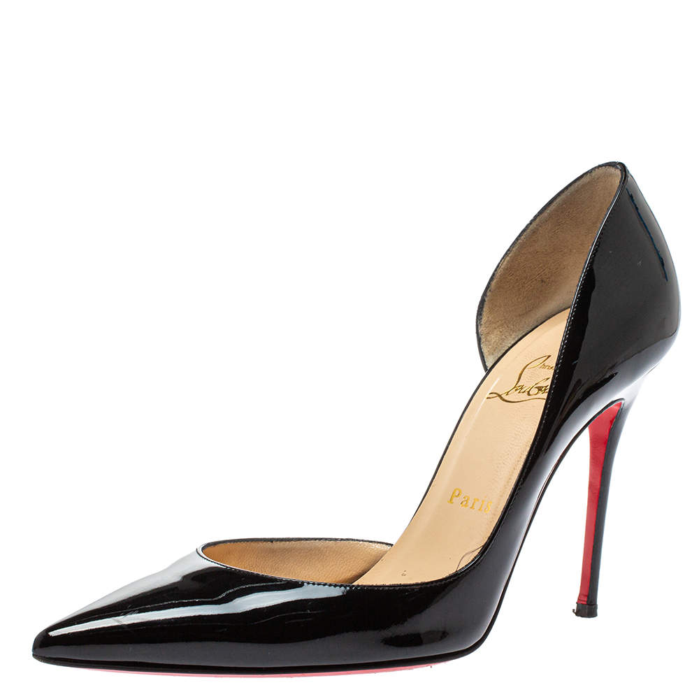 Christian Louboutin Black Patent Leather Iriza D'orsay Pointed Toe Pump Size 38