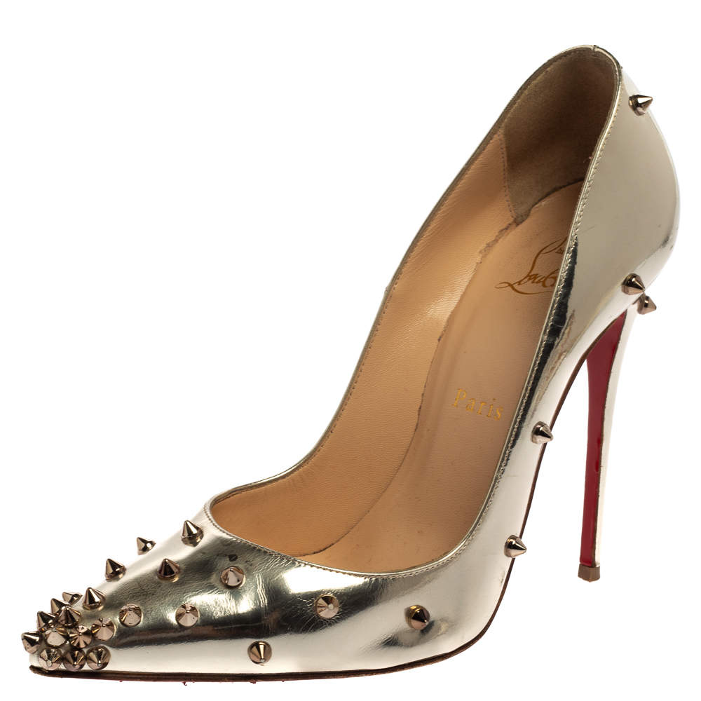 Christian Louboutin Silver Leather So Kate Pumps Size 37.5
