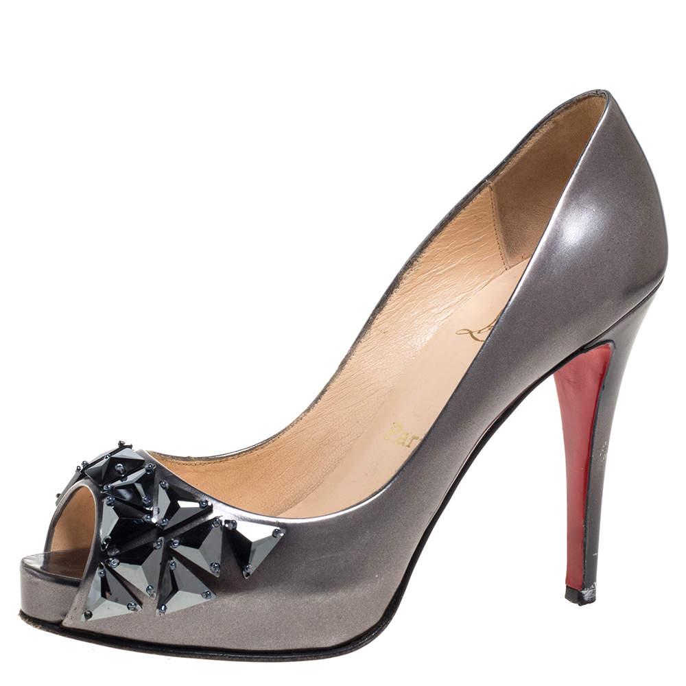 Christian Louboutin Metallic Grey Patent Leather Crystal Embellished Peep Toe Pumps Size 38