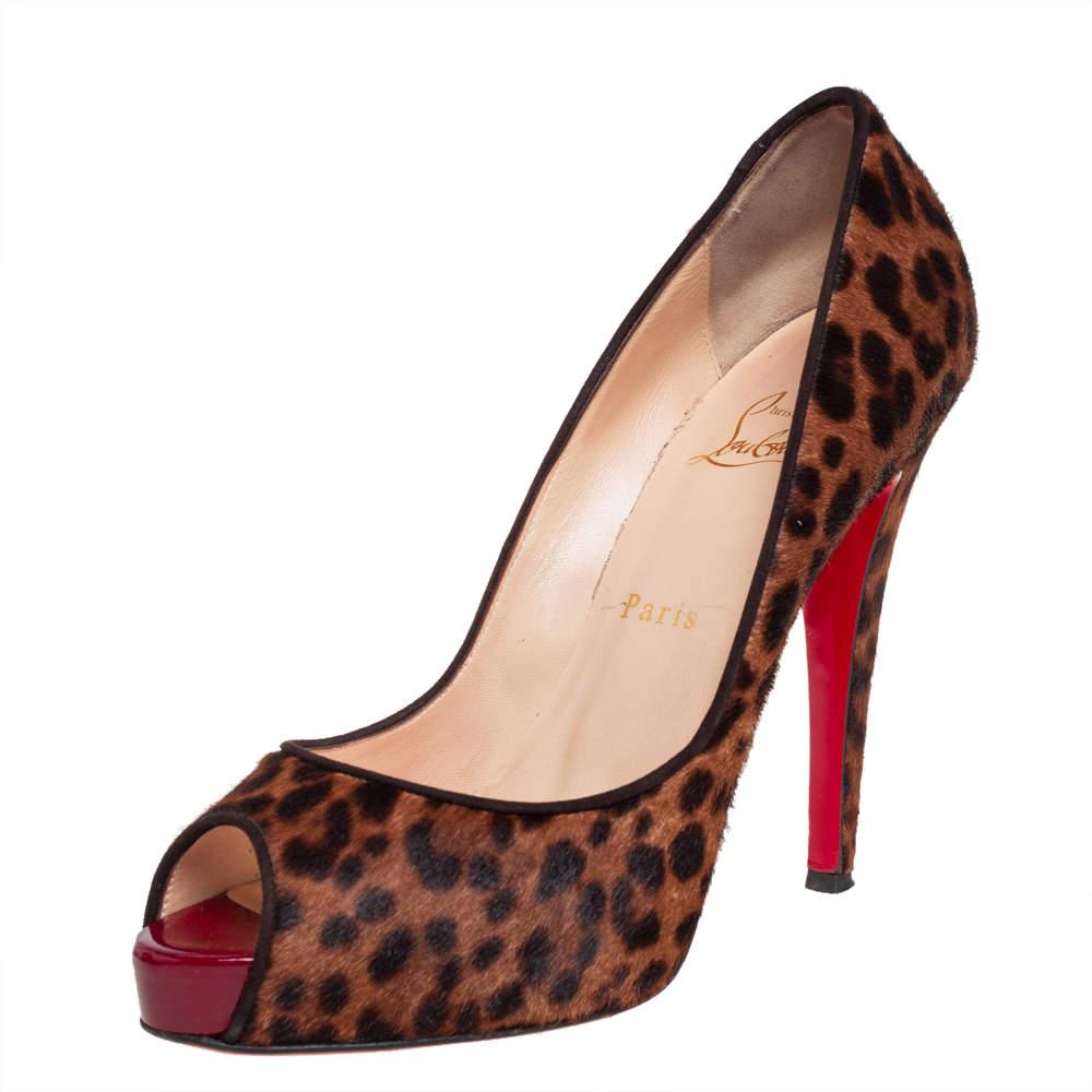 Christian Louboutin Brown Leopard Print Calf Hair Flo Peep Toe Pumps Size 38.5