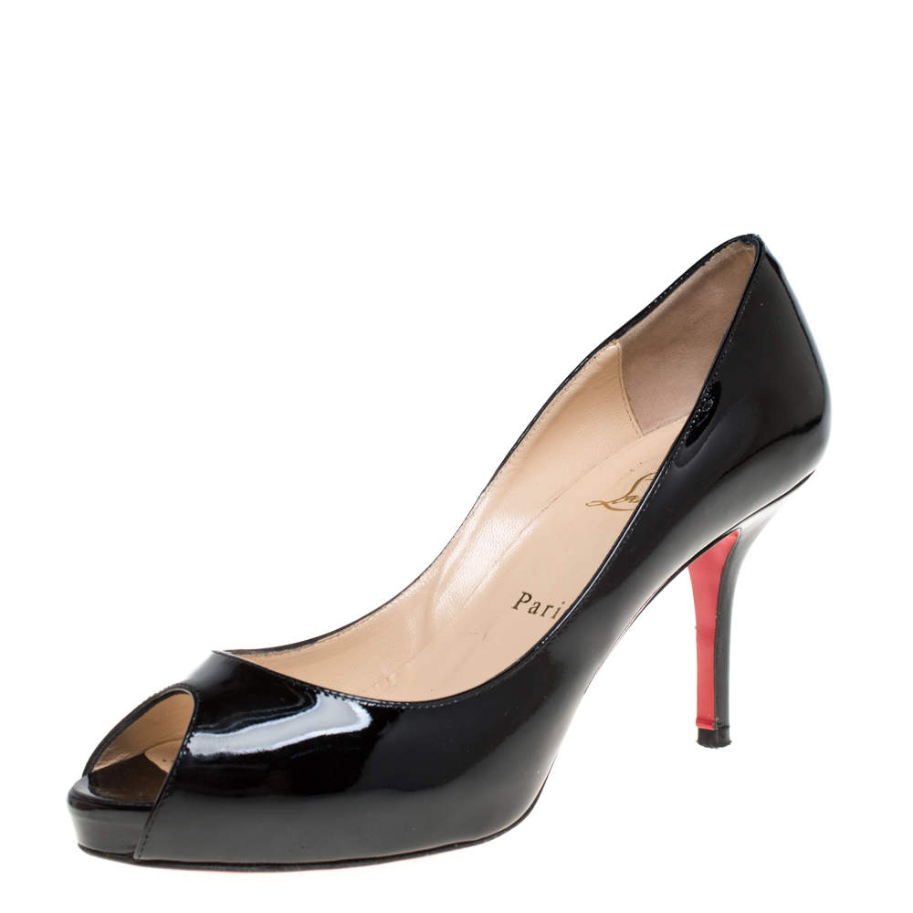 Christian Louboutin Black Patent Leather Mater Claude Peep Toe Pumps Size 37.5