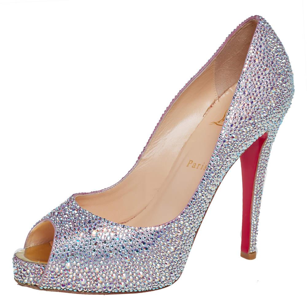 Christian Louboutin Silver Crystal Embellished Leather Lady Peep Toe Platform Pumps Size 40