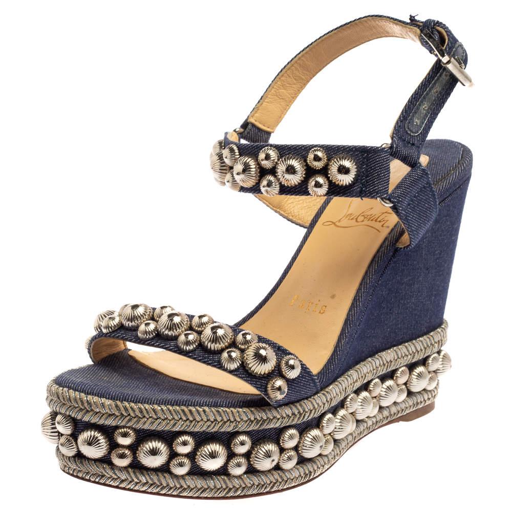 Christian Louboutin Blue Denim Fabric Rondaclou Wedge Sandals Size 36