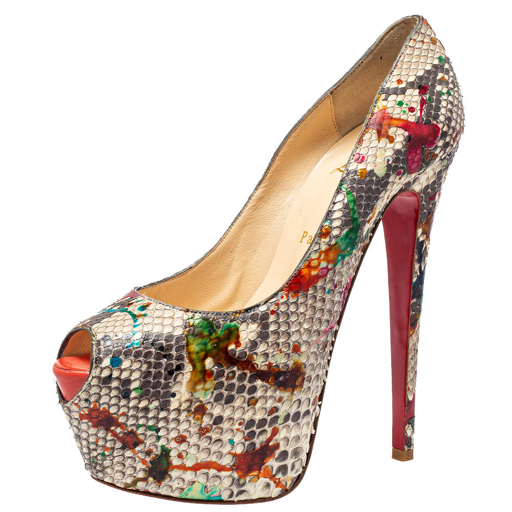 Christian Louboutin Multicolor Python Carnival Highness Peep Toe Platform Pumps Size 38.5