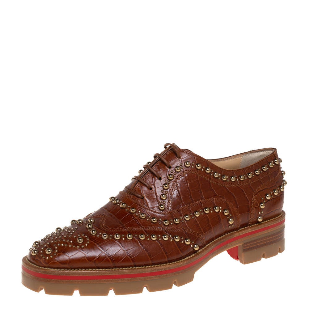 Christian Louboutin Brown Croc Embossed Leather Crapadonna Oxfords Size 37