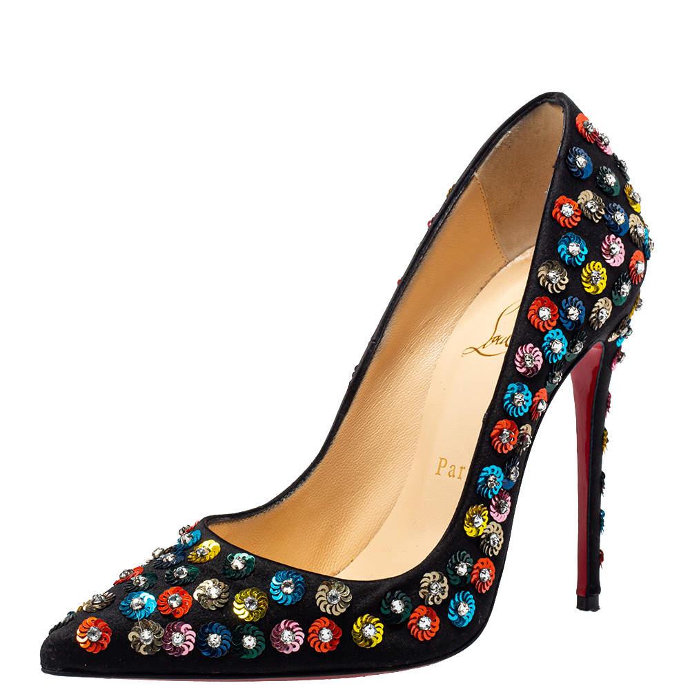 Christian Louboutin Black Satin Embellished Fiorilili Pumps Size 36