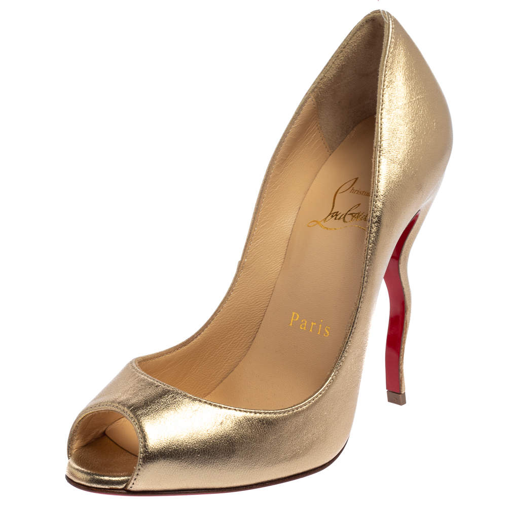 Christian Louboutin Gold Leather Jolly Squiggle Peep Toe Pumps Size 35.5