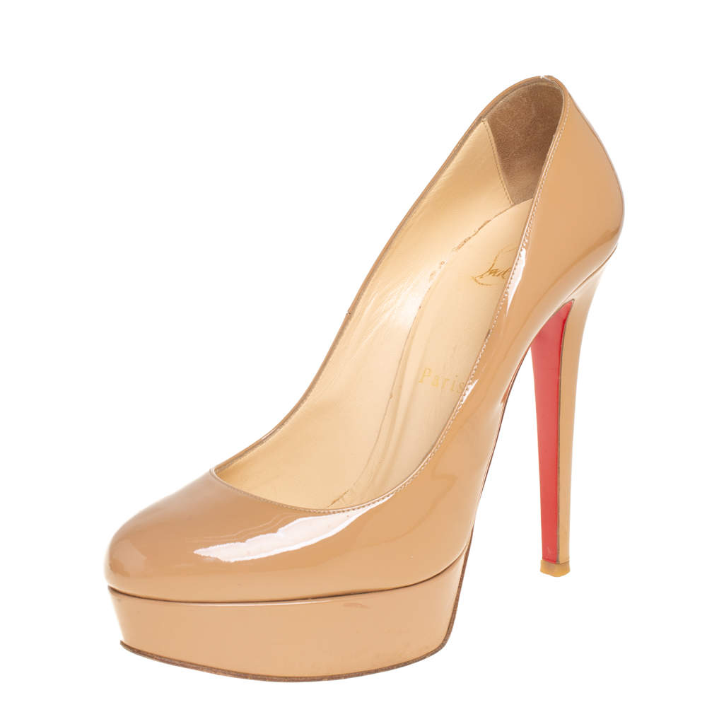 Christian Louboutin Beige Patent Leather Bianca Pumps Size 36.5