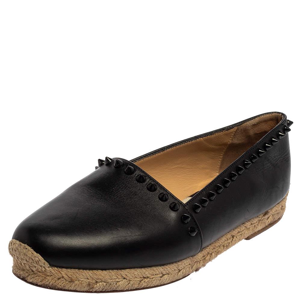 Christian Louboutin Black Leather Melides Spike Trim Flat Espadrilles Size 37